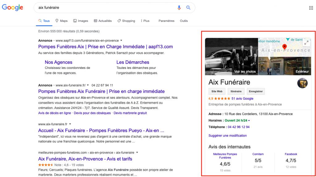 Fiche entreprise GoogleMyBusiness