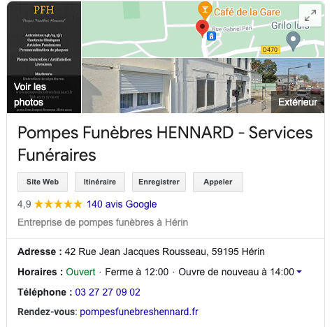 Google my business pompes funèbres